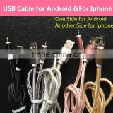 Factory price usb cable one port two sided with functions for Android and for iPhone usb cable