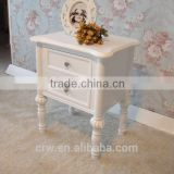 WH-4121 Antique Bedside Table Small White Nightstand