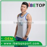 OEM service Customize wholesales screen printing silk logo polyester cotton sport vest singlet