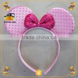 Pink Sequin Mickey Mouse Ear Headband With Bowtie for Party Girls                                                                         Quality Choice