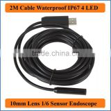2M Cable Length IP66 Waterproof 10mm Lens Mini USB Endoscope Camera Inspection Camera Borescope Tube Snake Scope 4 LEDs