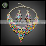 colorful flower shape slap-up crystal jewelry sets top quality 18K gold plated jewelry sets women party kHK713