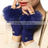 suede fashion winter fur fingerless leather gloves                                                                         Quality Choice