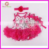 Wholesale floral print baby girl romper bodysuit pettiskirt with headband and shoes