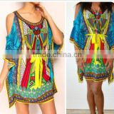 2016 summer printed casual batwing half sleeve cold shoulder boho dress hippie
