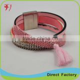 fantaisie women bijoux Handmade beaded bracelets with leather clasp