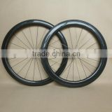700C 25mm wide combo carbon road wheels clincher 50mm front and 60mm rear powerway R13 hubs and sapim cx ray spokes