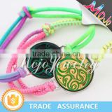 Gold and Black Sticker Abstract Fire Pattern Elastic Rainbow Cord Mood Bracelet Charms on Sale