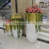large white tall decorative fiberglass flower pots garden planter