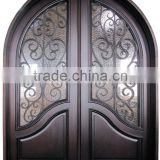 wood wrought iron entry door