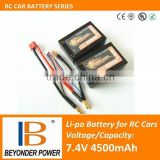 Factory direct sale, rechargeable lipo RC car battery, 7.4V4500mAh battery with high discharge rates