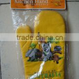 2015 hot sale 100% cotton kitchen glove/oven mitt for promotion-printed yellow oven glove                                                                         Quality Choice