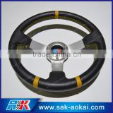 12 inch genuine leather steering wheel With Silver Spoke