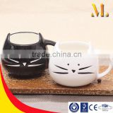 MLB-1655 Creative ceramic mug Cat style design mug Coffee lovers mug cute birthday gift (white, black)