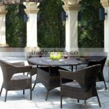 wicker balcony furniture set includes six chairs and dining table in flat wicker with cushion