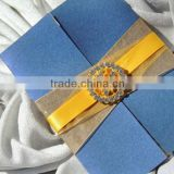 elegant debut rhinestone buckles invitations with golden ribbon