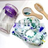 Spa Salon Disposable Plastic clear shower hair bath cap & comb & PVC Waterproof bags Bath Set