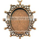 Zinc Alloy Cabochon Settings, Lead Free & Nickel Free, Oval, Red Copper, about 40x30x2mm, hole: 2mm(PALLOY-A13178-R-FF)