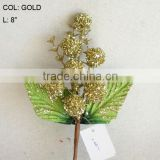 "2014 Fresh Artificial Christmas Gold Flower Pick 8"" Artificial Fruit Flower With Berries And Leaf"