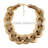 Fashion accessories women's fashion in Europe cotton rope winding golden acrylic round plastic golden necklace