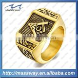 Graduate University Master fashion brass alloy 3D big gold ring                                                                         Quality Choice