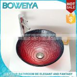 Boweiya Wholesale Red Curved 16.5 Inch Tempered Glass Pedicure Sink Bowl