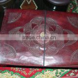 custom embossed leather journal covers with stone inserts supplied for leather journal makers