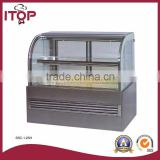 for 280-595L stainless steel refrigeration bakery glass cake display showcase
