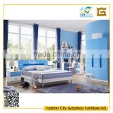 cheap modern blue lacqure bedroom furniture sets for kids with words on headboard design