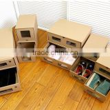 Creative women and men shoe corrugated paper box with pp clear window for long boots