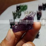 Beautiful natural amethyst quartz crystal dragon head skull for decoration,crystal skull carving