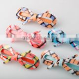 2015 new developing plaid butterfly barrette nice metal hair decoration ladies plastic barrette