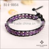 Coral beads jewelry sets amethyst beads wrap bracelet make braided black leather bracelet with beads