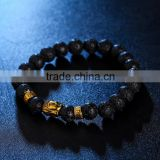 Gold figure of Buddha expandable bracelets natual black crystal jewelry volcanics bracelet lava
