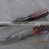 2015 new design luxury unique damascus pattern spring assisted tactical folding pocket knife