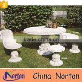 white natural marble outdoor stone tables and benches NTS-B175X
