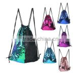 Mermaid Sequin Backpack Glittering Outdoor Shoulder Bag, Winmany Magic Reversible Glitter Drawstring Backpack bag