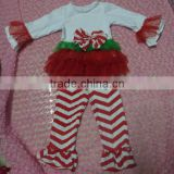 Wholesale Kids Christmas Outfit Cute Baby Girls White Long Top Skirts & Red Stripe Ruffled Pant Sets for Winter