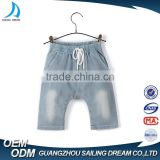 OEM service wholesale price hand wash kids jeans knit denim baby harem pants with cotton sting