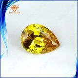 Wuzhou wholesale cubic zirconia, excellent pear cut cubic zirconia stones,yellow diamond color cz stone