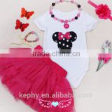 Baby Girl's First Birthday Outfit Boutique cloth wholesale headband with necklace kids tutu skirt/dress clothing set