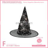 transparent tulle brim Black conical spider web decoration witch hat