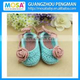 Crochet Baby Shoes Rose Flower Egg Blue Mary Jane Girl Shoes,Newborn Baby Shower Gift Shoes Toddler Booties