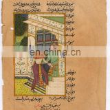Miniature Painting Mugal Harem Scene Original Wall Decor Art Paper Painting Water Color Painting Hand Painted