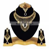 Indian Designer Gold Plated Bollywood Pary wear Jewelry Necklace Set Black Color