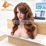 Medium Brown Thick Virgin Human Hair Wig Big Body Wave 180% Density Full Lace Wig With Bangs Brazilian Hair For Black Women