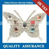 T0912 YAX hot fix rhinestone patches butterfly,iron on strass patches wholesale,transfer crystal stone patches for sale