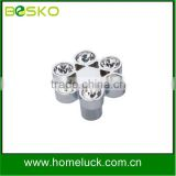 Flow crystal handle furniture knobs and handles in zamac with crystal