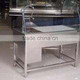 APEX custom make supermarket luxury faucet stainless steel sink front curve glass fish processing equipment