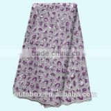 African high quality organza lace fabric with sequins for party and wedding OG0140 white+purple
